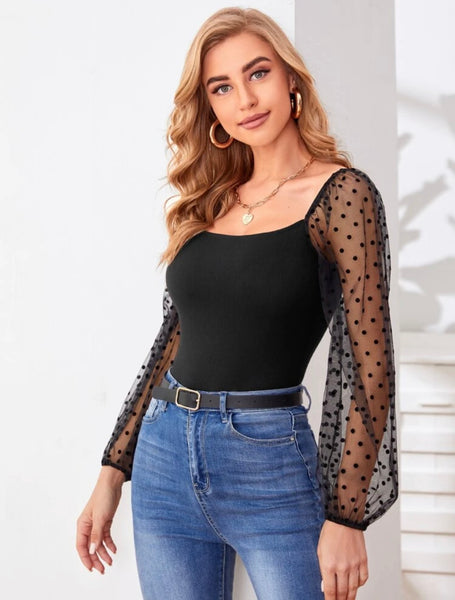 Dobby Mesh Sleeve Top - Shop Station EG