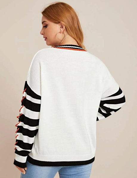 Plus whipstitch detail striped sweater - Shop Station EG