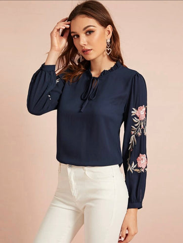 Frill Trim Tie Neck Embroidered Botanical Top - Shop Station EG