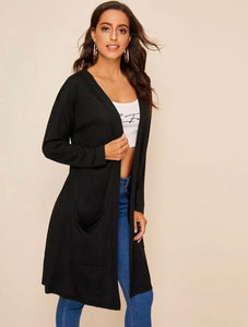 Pocket front open placket solid coat - Shop Station EG