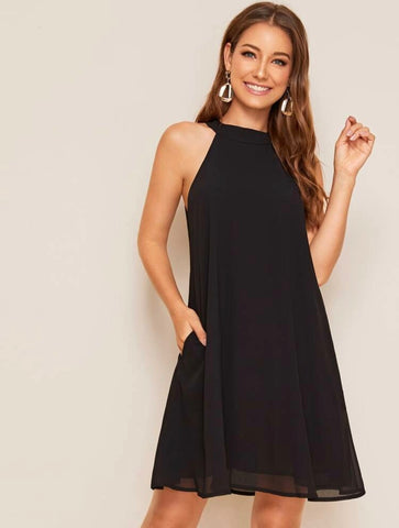 Halter Button Keyhole Dress - Shop Station EG