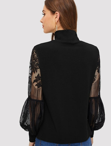 High neck lace sleeve top - Shop Station EG