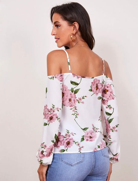 SHEIN Cold Shoulder Bishop Sleeve Floral Top - Shop Station EG