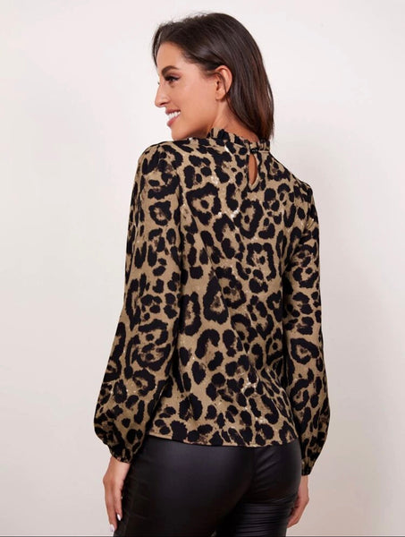 SHEIN Frilled Neck Bishop Sleeve Leopard Top - Shop Station EG