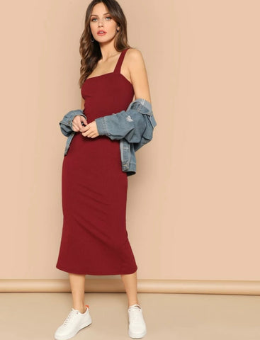Thick Strap Slit Back Ribbed Midi Dress - Shop Station EG