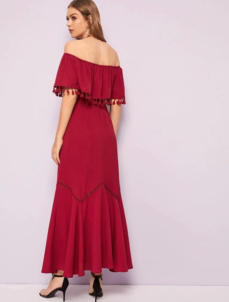 Off shoulder tassel trim lace dress - Shop Station EG