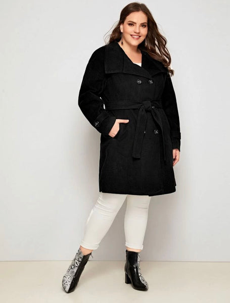 Plus double breasted belted waterfall pea Coat - Shop Station EG