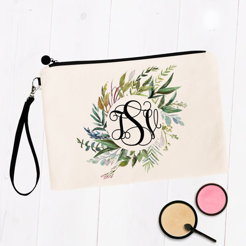 Round Greenery Wreath Monogram Makeup Bag