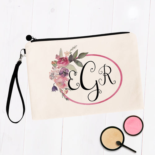 Soft Pink Frame Monogram Cosmetic Bag