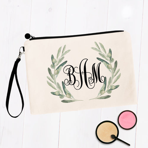 Eucalyptus Greenery Monogram Cosmetic Bag