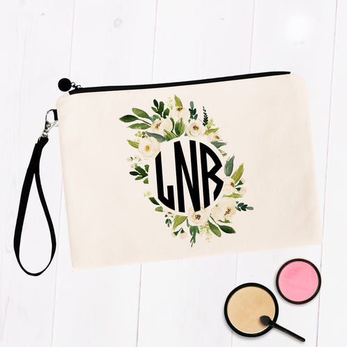 Round Soft White & Green Floral Monogram Cosmetic Bag