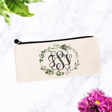 Load image into Gallery viewer, Greenery Wreath Monogram Cosmetic Bag