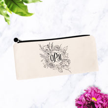 Load image into Gallery viewer, Black & White Modern Floral Round Monogram Makeup Bag