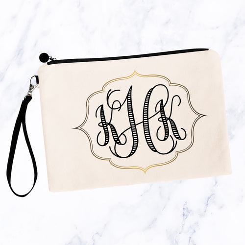 Modern Gold Frame Monogram Cosmetic Bag