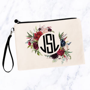 Round Burgundy Navy Floral Monogram Cosmetic Bag