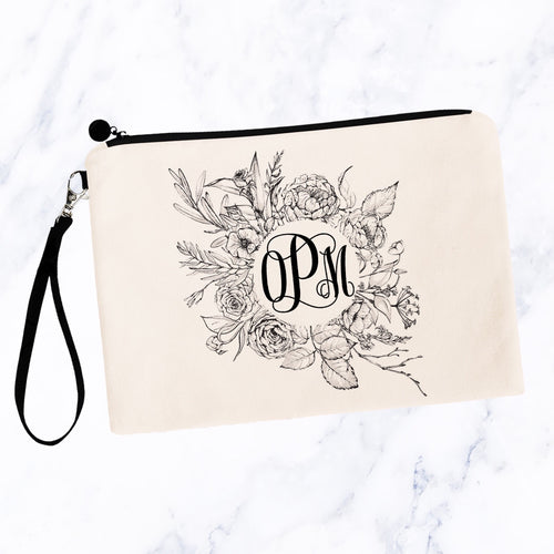 Black & White Modern Floral Round Monogram Makeup Bag