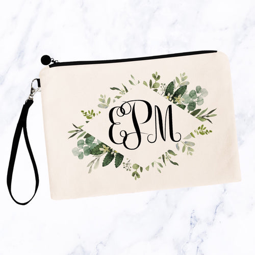 Modern Greenery Frame Monogram Cosmetic Bag