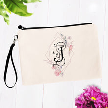 Load image into Gallery viewer, Soft Pink Floral Initial Cosmetic Bag