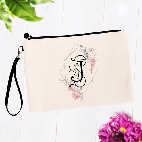 Soft Pink Floral Initial Cosmetic Bag
