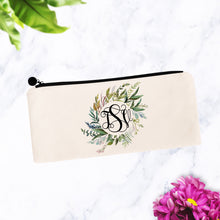 Load image into Gallery viewer, Round Greenery Wreath Monogram Makeup Bag