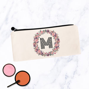 Round Soft Floral Initial Makeup Bag