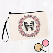Load image into Gallery viewer, Round Soft Floral Initial Makeup Bag
