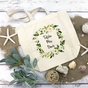 Future Mrs. Personalized Bride Bag White Floral Greenery