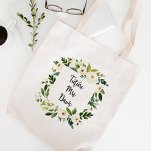 Load image into Gallery viewer, Future Mrs. Personalized Bride Bag White Floral Greenery