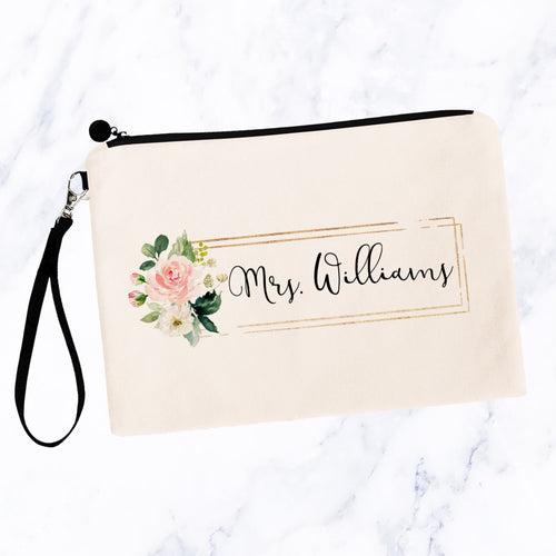Floral Block Custom Bride Makeup Bag