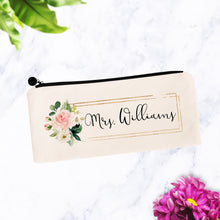 Load image into Gallery viewer, Floral Block Custom Bride Makeup Bag