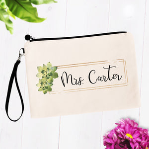 Mrs Cosmetic Bag with Custom Name and Succulents