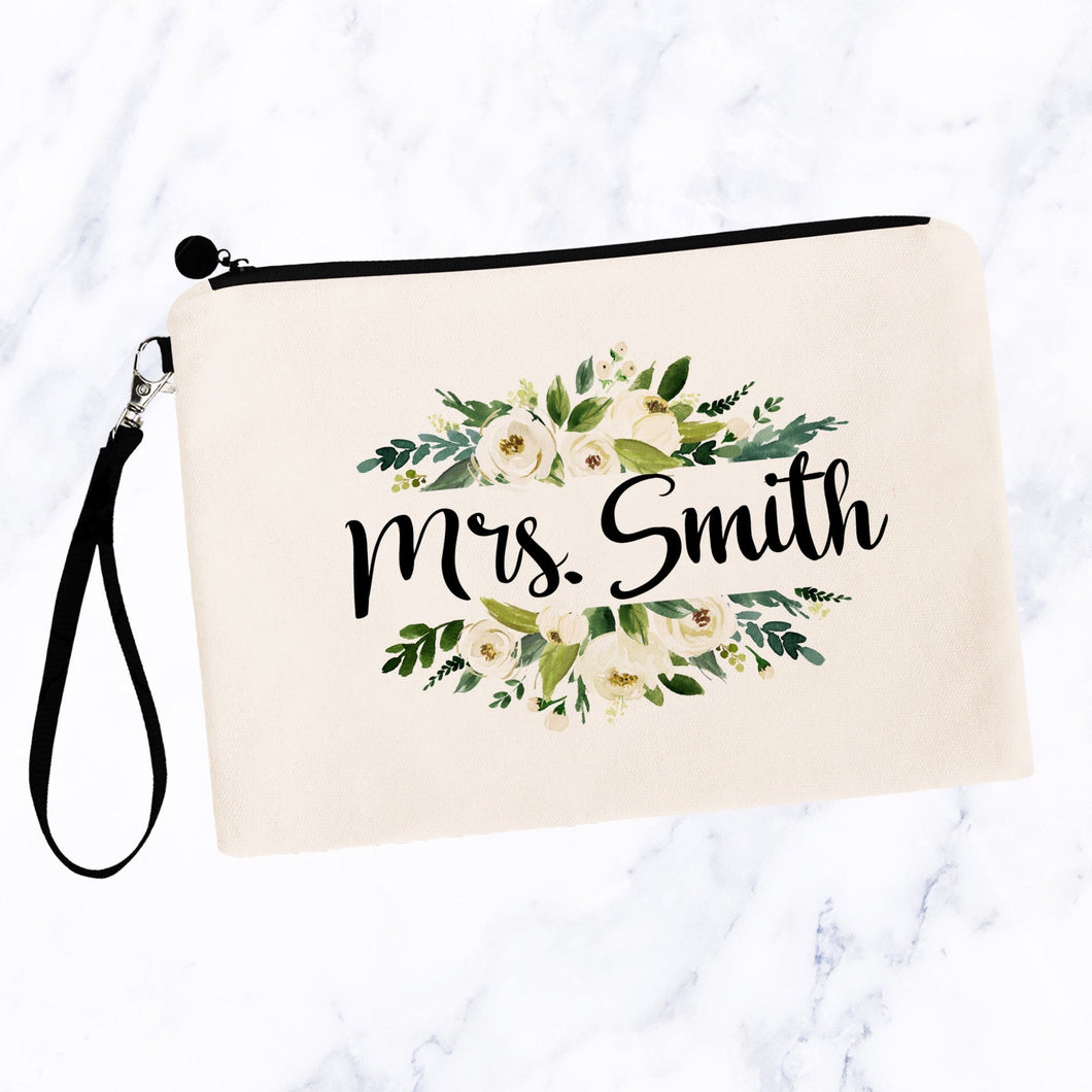 Personalized White Floral Makeup Bag