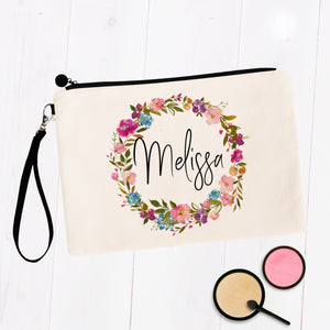 Personalized Makeup Bag with Floral Wreath