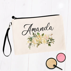 White Floral Personalized Makeup Bag