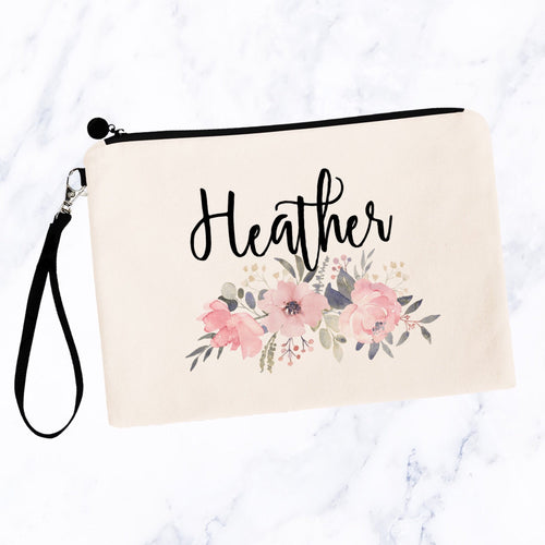 Soft Pink Floral Custom Makeup Bag
