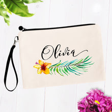 Load image into Gallery viewer, Tropical Hibiscus Floral Personalized Makeup Bag