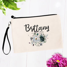 Load image into Gallery viewer, Dark Floral Makeup Bag Gift Personalized