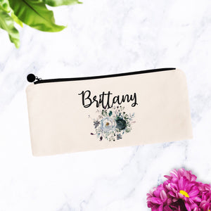 Dark Floral Makeup Bag Gift Personalized
