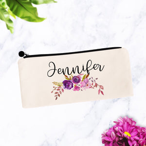 Custom Name Personalized Purple Floral Makeup Bag
