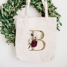 Load image into Gallery viewer, Faux Gold Foil Initial Floral Tote Bag