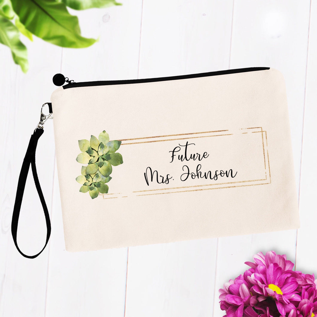 Future Mrs Custom Name Cosmetic Bag with Succulents