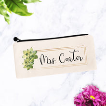 Load image into Gallery viewer, Mrs Cosmetic Bag with Custom Name and Succulents