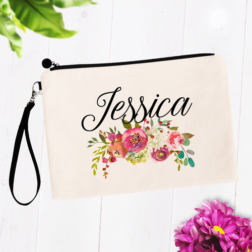 Pink Soft Floral Custom Name Makeup Bag