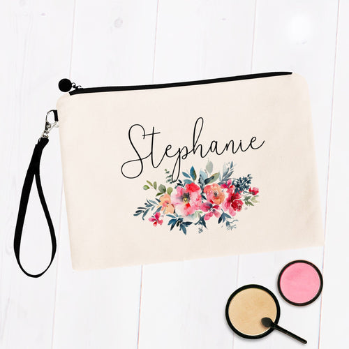 Watercolor Floral Custom Personalized Makeup Bag