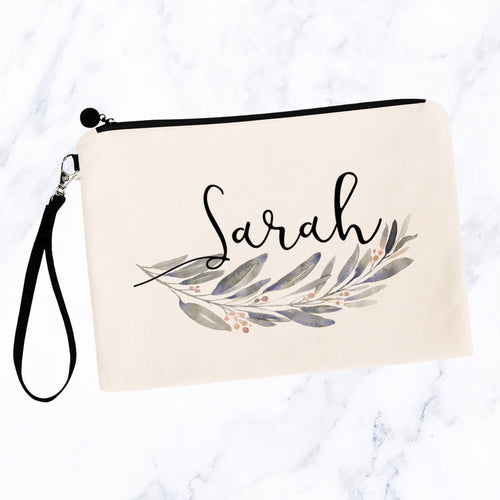Neutral Floral Swag Personalized Make up Bag