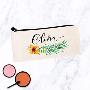 Tropical Hibiscus Floral Personalized Makeup Bag