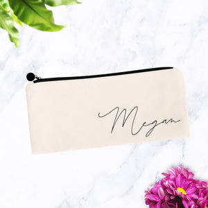 Personalized Soft Cursive Script Makeup Bag