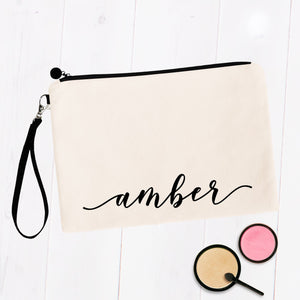 Cursive Script Custom Name Personal Makeup Bag