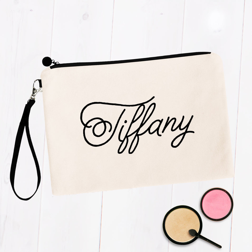Custom Name Script Makeup Cosmetic Bag