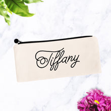 Load image into Gallery viewer, Custom Name Script Makeup Cosmetic Bag